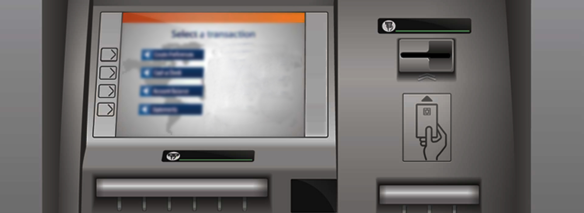 ATM, cash machine, choose, screen