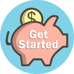 piggy bank with get started text