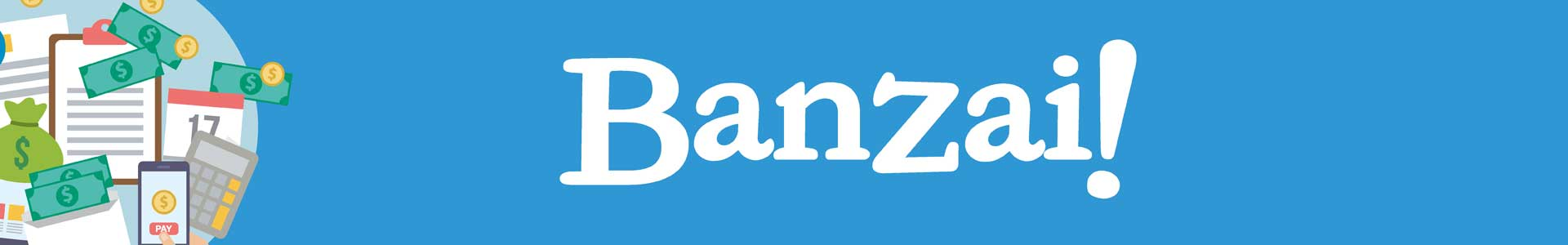 Banzai! Picture of money, calculator and financial planning