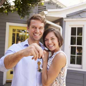 young, couple, keys, happy, house, home,