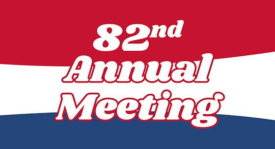 82nd Annual Meeting on a red, white and blue background