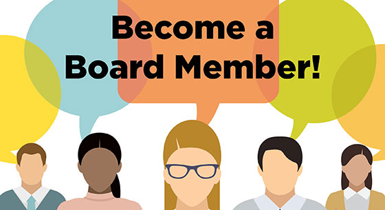 Become a Board Member! in speech bubbles above a group of cartoon people