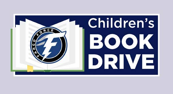 children's book drive with the Fargo Force
