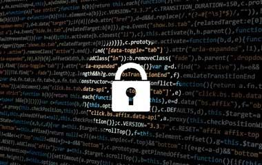 white padlock on a black background with computer code to symbolize cybersecurity