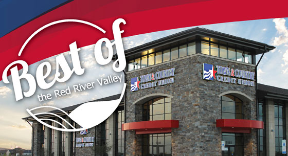 Best of the Red River Valley logo over Town & Country Credit Union location