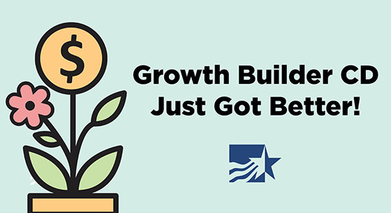 Growth Builder CD Just Got Better! On a mint green background with a flower in the shape of a coin