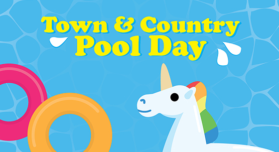 Town & Country Pool Day. Blue water, unicorn floaty