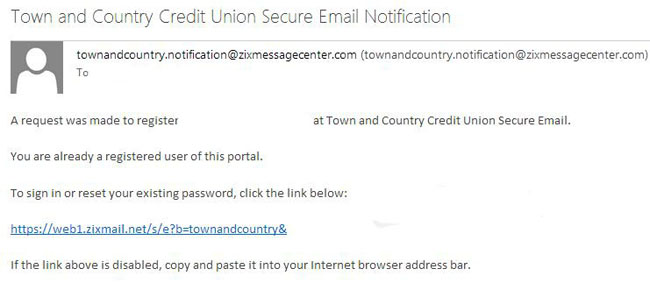 Email received to active secure email address