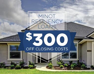 Minot Resiliency Loans. $300 off closing costs. House, sky, clouds, blue, new