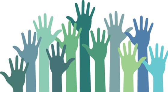 hands, blue, green, volunteering