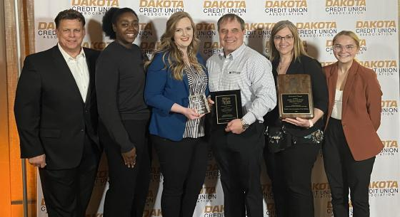 The Town & Country team accepts their Dakota Credit Union Association awards at the Annual Summit in May 2021