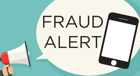 Fraud Alert, megaphone, cell phone