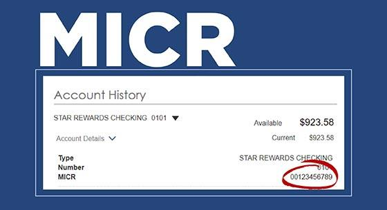 MICR with a screenshot of what it looks like in online banking