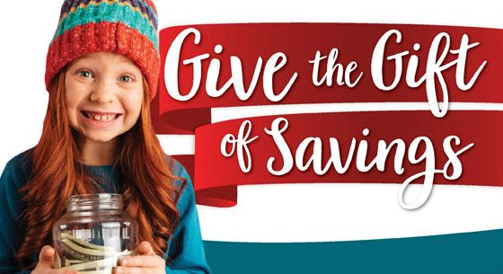 Give the gift of Savings. Child with jar of money