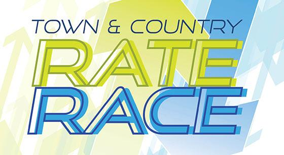 """blue and lime green text stating """"Town & Country Rate Race"""""""
