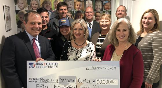 Town & Country Credit Union Board Presents Check to Magic City Discovery Center Board