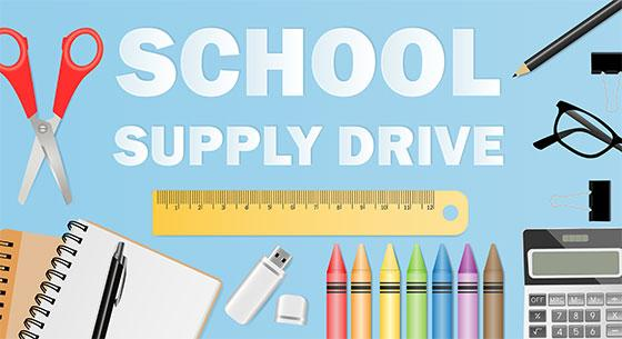 School Supply Drive with images of school supplies