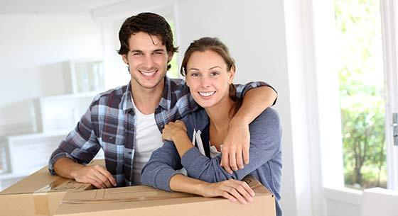 Young couple in first home