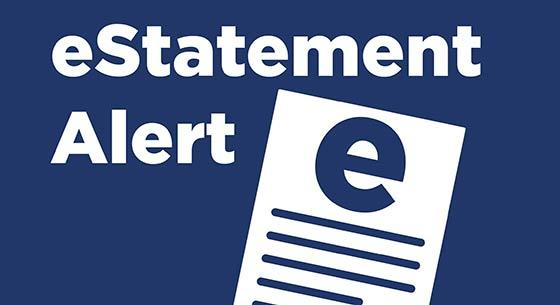 eStatement Alert in white text on a blue background with an illustration of a paper with an e on the top